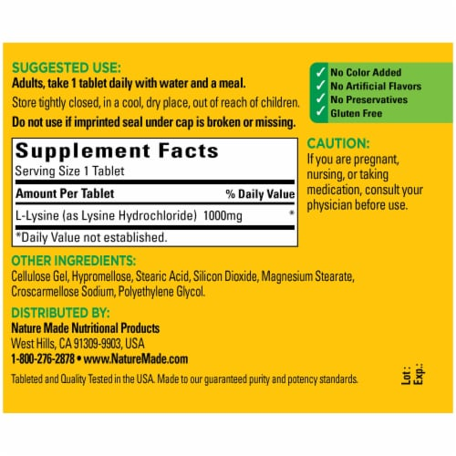 Nature Made® Extra Strength L-Lysine 1000mg Tablets Perspective: back