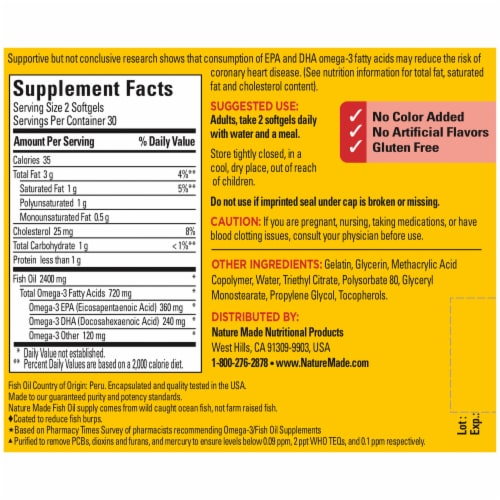 Nature Made® Fish Oil 360 mg Omega-3 Dietary Supplement 1200mg Softgels Perspective: back