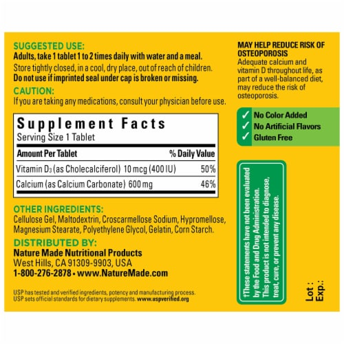 Nature Made® 600mg Calcium Tablets Perspective: back
