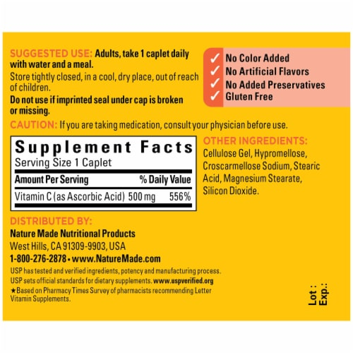 Nature Made Vitamin C Caplets 500mg Perspective: back