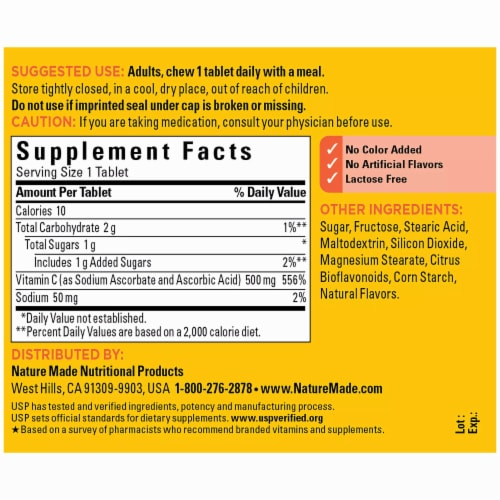 Nature Made® Orange Flavored Chewable Vitamin C Tablets 500mg Perspective: back