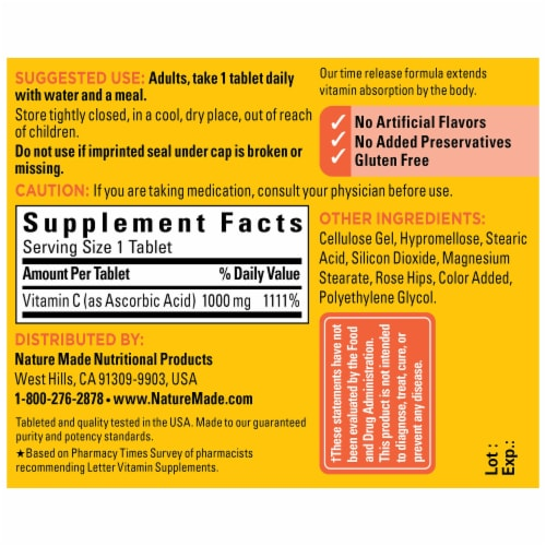 Nature Made® Vitamin C 1000mg Tablets Perspective: back