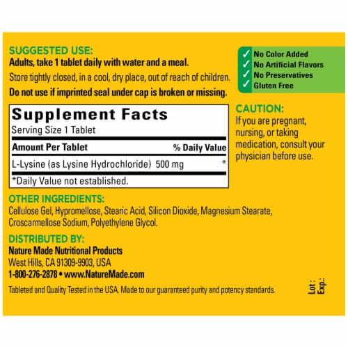 Nature Made L-Lysine Tablets 500mg 100 Count Perspective: back