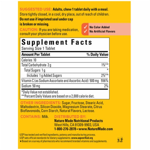 Nature Made® Chewable Vitamin C Tablets 500mg Perspective: back