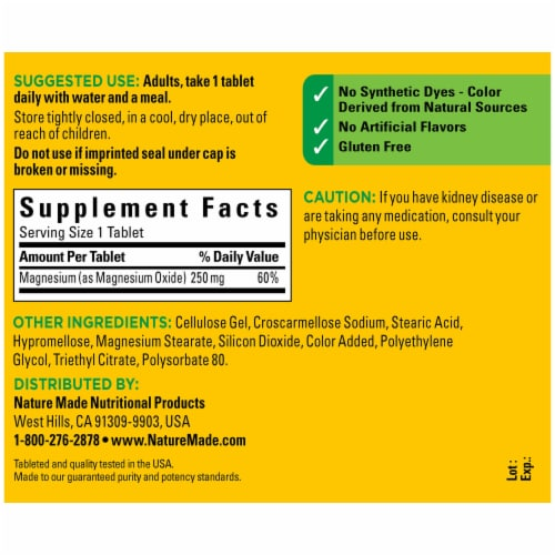 Nature Made® Magnesium Tablets 250mg Perspective: back