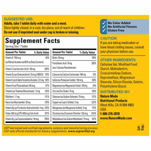 Nature Made® Multi for Him Multivitamin Tablets Perspective: back