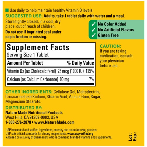 Nature Made Vitamin D3 Tablets 25mcg Perspective: back