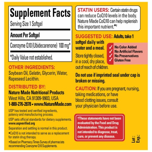 Nature Made® CoQ10 Softgels 100mg Perspective: back
