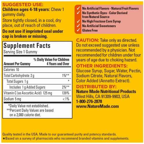 Nature Made® Kids First® Tangerine Vitamin C Gummies 125mg Perspective: back