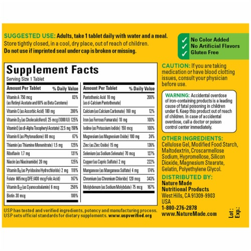 Nature Made Multi Vitamins with Iron Tablets Perspective: back