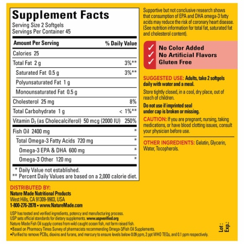 Nature Made Fish Oil Vitamin D Softgels Perspective: back