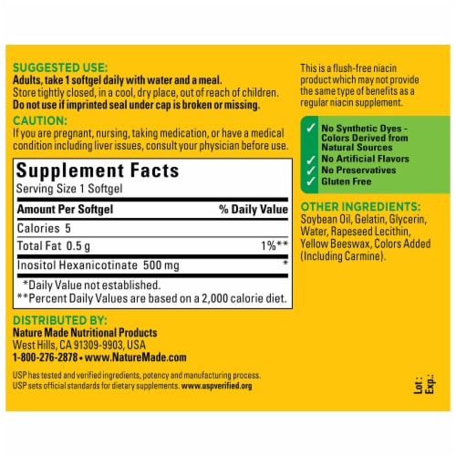 Nature Made Flush Free 500 mg Niacin Softgels Perspective: back