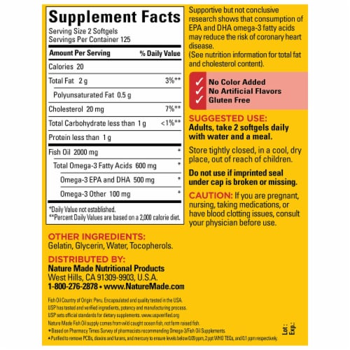 Nature Made® Fish Oil Omega-3 Dietary Supplement Softgels 1000mg Perspective: back