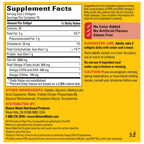 Nature Made® Burp-Less Fish Oil Omega-3 Dietary Supplement Softgels 1000mg Perspective: back