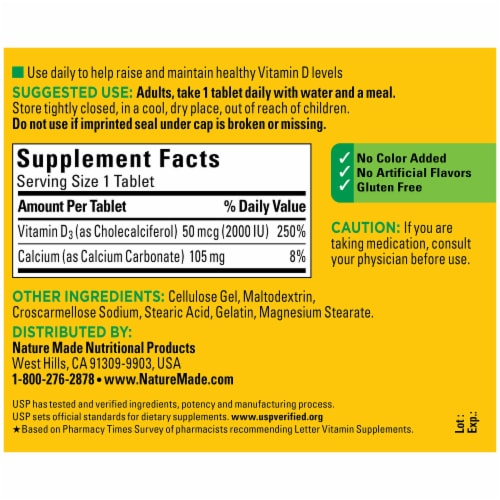 Nature Made® Vitamin D3 Tablets 50mcg Perspective: back