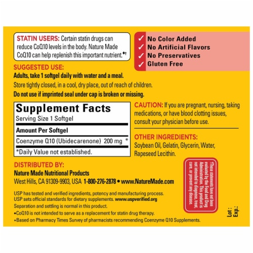 Nature Made® CoQ10  200mg Dietary Supplement Softgels Perspective: back