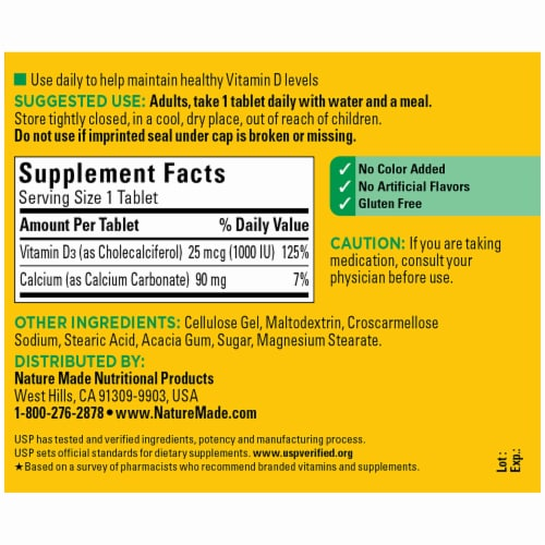 Nature Made® Vitamin D3 Tablets 25mcg Perspective: back