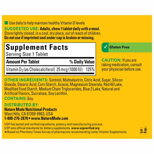 Nature Made Vitamin D3 1000 IU Grape Flavor Chewable Tablets Perspective: back