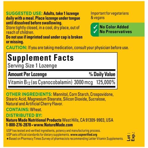 Nature Made® Sublingual Vitamin B12 Cherry Flavor 3000mcg Micro-Lozenges Perspective: back