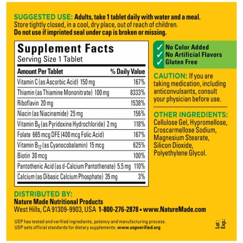 Nature Made® Super B-Complex Tablets Perspective: back