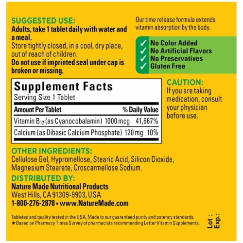 Nature Made B12 Time Release Tablets 1000mcg Perspective: back