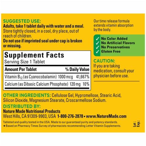 Nature Made® Vitamin B12 Timed Release Tablets 1000mcg Perspective: back