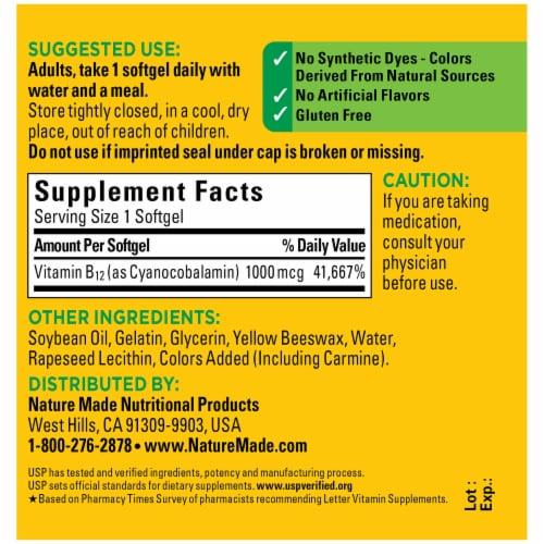 Nature Made® B12 Vitamin Softgels 1000mcg Perspective: back