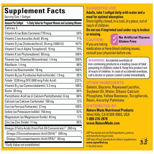 Nature Made Prenatal Multivitamin Softgels 200mg Perspective: back