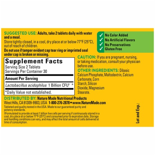 Nature Made® Acidophilus Probiotics Tablets Perspective: back