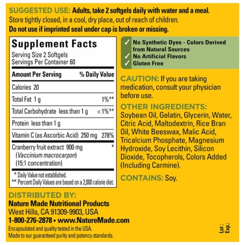 Nature Made® Cranberry Extract with Vitamin C Dietary Supplement Softgels 450mg Perspective: back