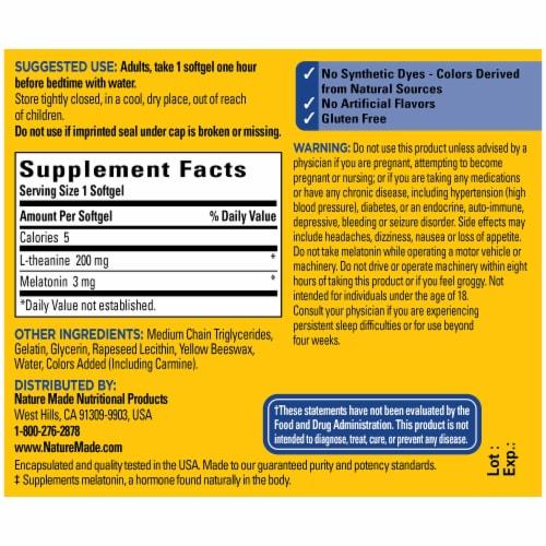 Nature Made® Melatonin + 200mg L-Theanine Softgels 3mg Perspective: back
