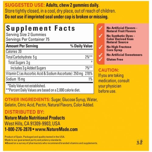 Nature Made® Vitamin C Gummies 250mg Perspective: back
