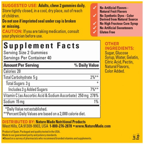 Nature Made® Vitamin C Tangerine Flavored Adult Gummies 250mg Perspective: back
