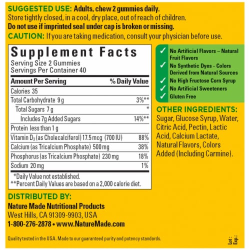 Nature Made® Cherry Orange & Strawberry Calcium Adult Gummies 500mg Perspective: back