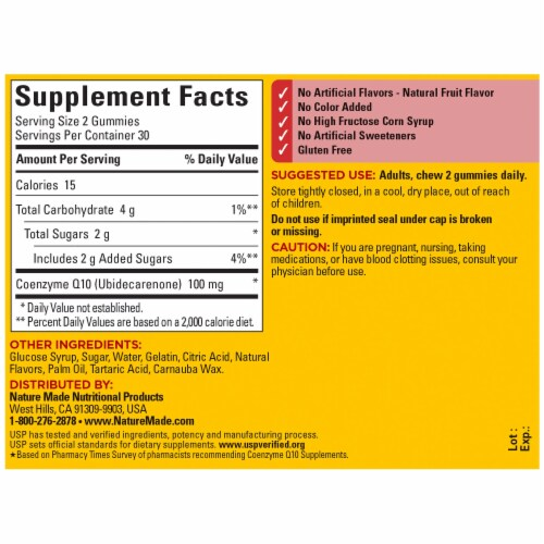 Nature Made® Mango Flavored CoQ10 Gummies Perspective: back