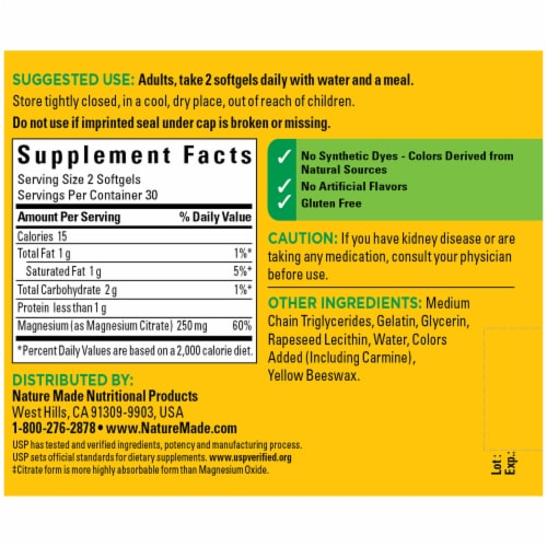 Nature Made® Magnesium Citrate Softgels 125mg Perspective: back
