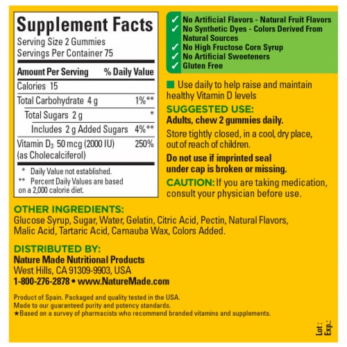 Nature Made® Vitamin D3 Strawberry Peach and Mango Flavored Gummies Value Size 50mcg Perspective: back