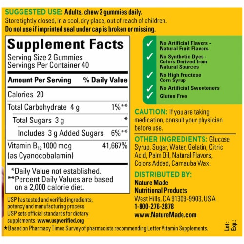 Nature Made® Energy B12 Cherry & Mixed Berries Flavored Gummies 1000mcg Perspective: back