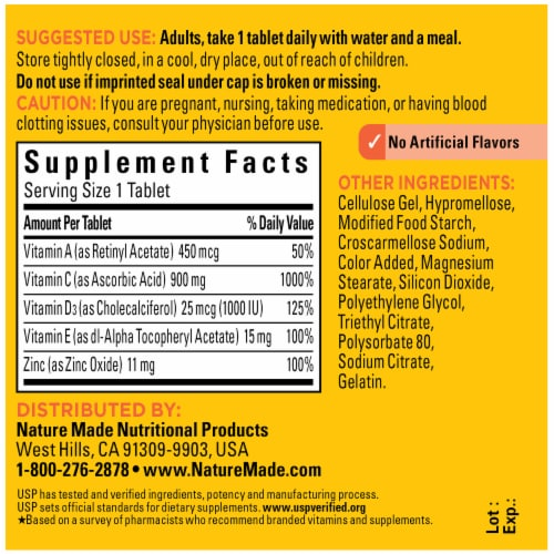 Nature Made® Super C Immune Complex Tablets Perspective: back