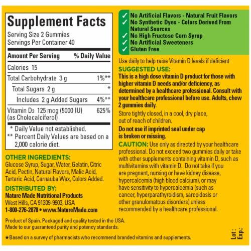 Nature Made® Extra Strength Strawberry Peach & Mango 125mcg Vitamin D3 Gummies Perspective: back