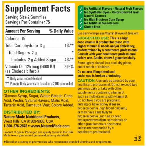 Nature Made® 125mcg Vitamin D Gummies Perspective: back