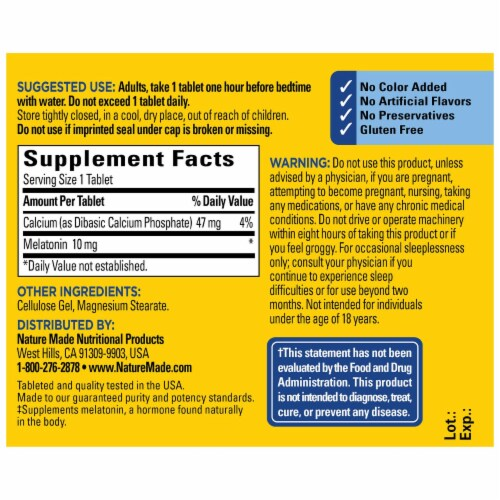 Nature Made Extra Strength Melatonin Tablets 10mg Perspective: back
