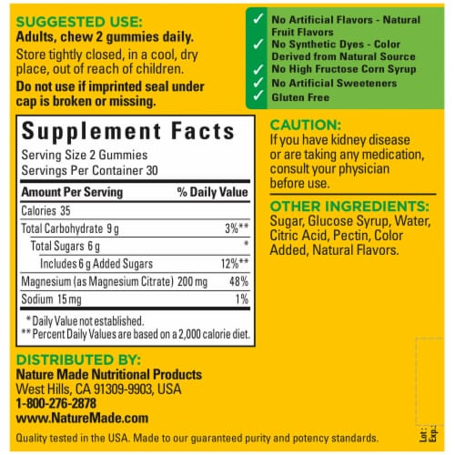 Nature Made® High Absorbtion Magnesium Citrate Gummies Perspective: back