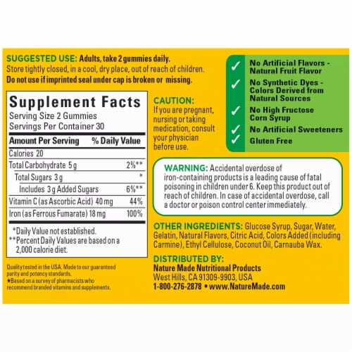 Nature Made® Iron with Vitamin C 18 mg Perspective: back