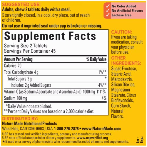 Nature Made® Chewable Vitamin C 1000mg Perspective: back
