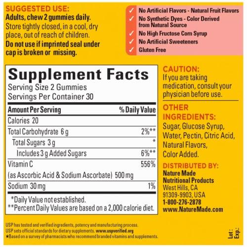 Nature Made® Tangerine Vitamin C Gummies 500mg Perspective: back