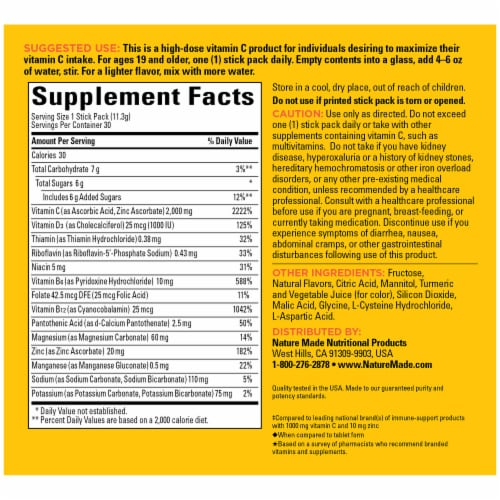 Nature Made® Immune Max Orange Flavored Fizzy Drink Mix Packets Perspective: back