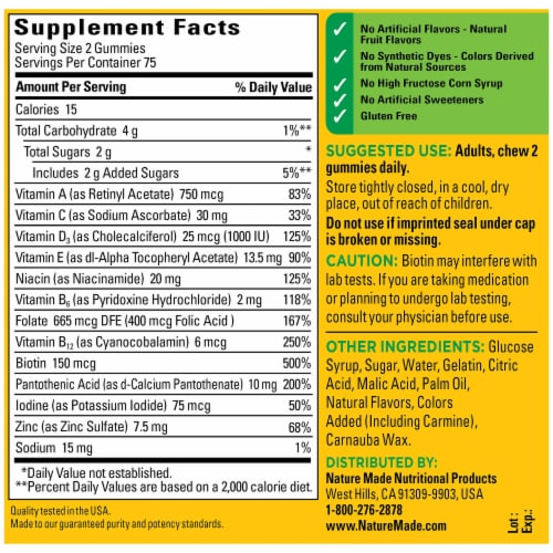Nature Made® Orange Cherry and Mixed Berry Adult Multi-Vitamin Gummies Perspective: back