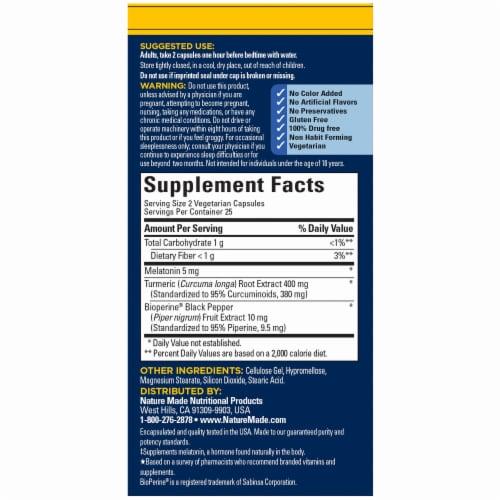 Nature Made® Sleep & Soothe Aches™ Melatonin + Tumeric Vegetarian Capsules Perspective: back