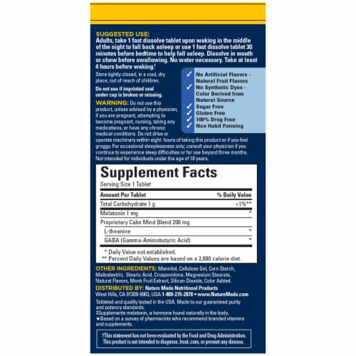 Nature Made Back to Sleep Fast-Dissolve Berry Tablets 200mg Perspective: back